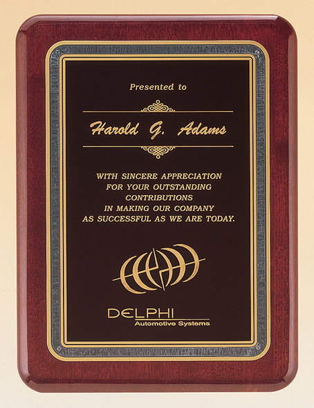 Rosewood Piano-Finish Recognition Award Plaque with Brass Plate, Laser engraved