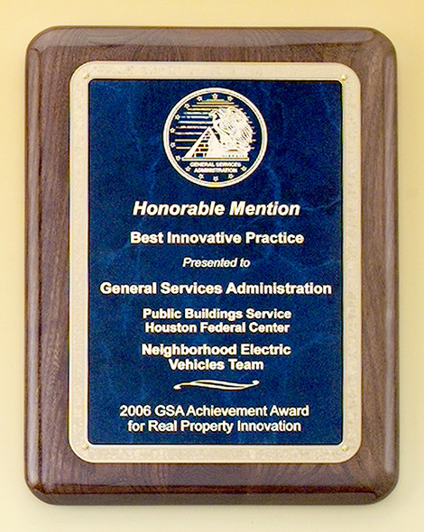 Walnut Stained Piano-Finish Recognition Award Plaque with Brass Plate, Laser engraved