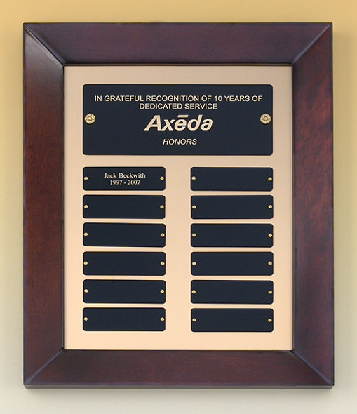 Cherry Finish Wood Frame Perpetual Recogniton Plaque, Laser engraved
