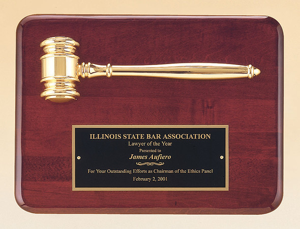 Rosewood Stained Piano Finish Plaque with Gold Plated Gavel, Laser engraved