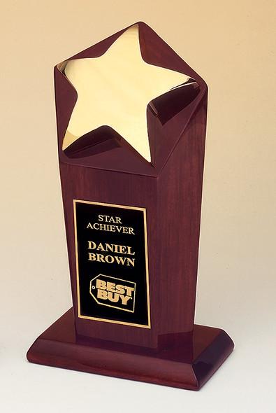 Star Award with Cast Metal Star, Rosewood Pedestal Base, #109