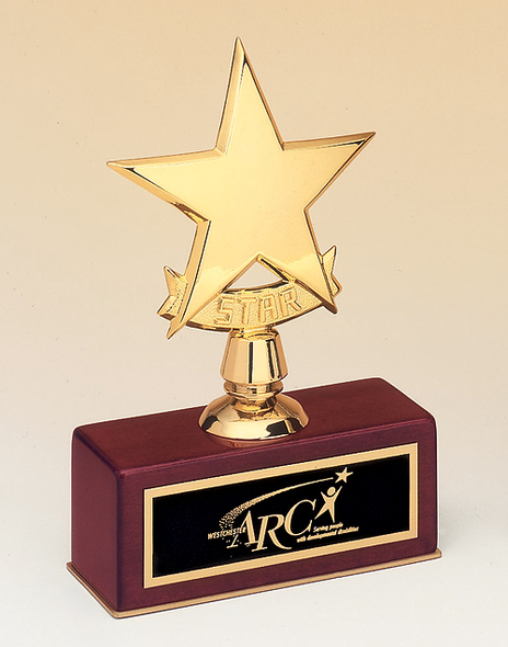 Star Award Trophy, Rosewood Base, #108