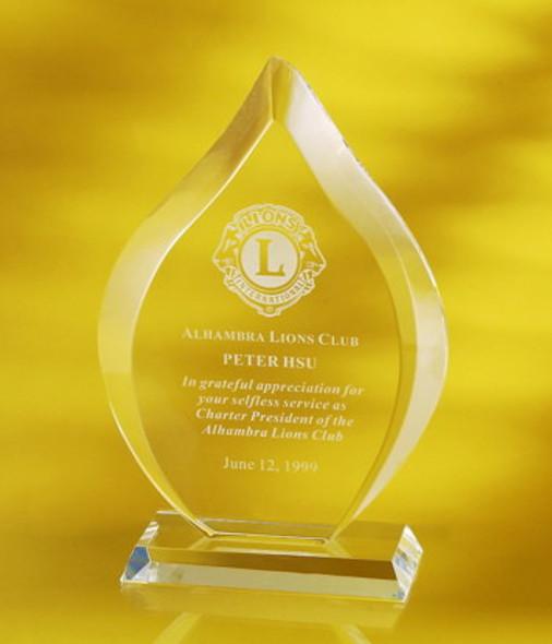 Bevel Flame Crystal Award