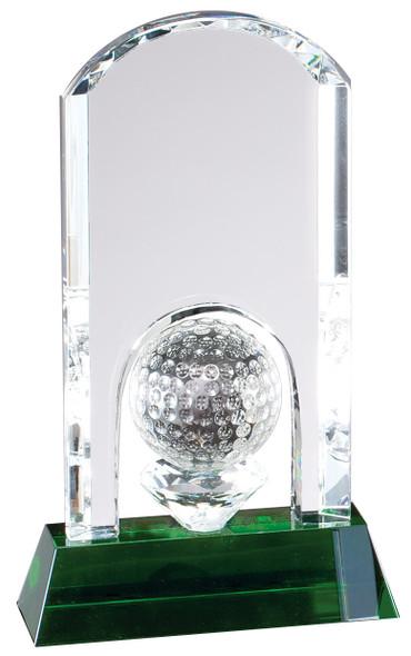 Crystal Golf Trophy Award, Green Crystal Base