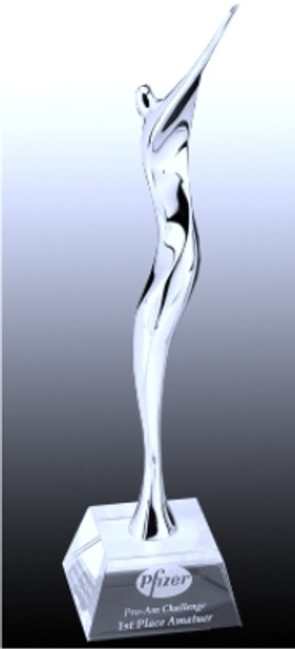 Chrome Statue with crystal base. Free engraving