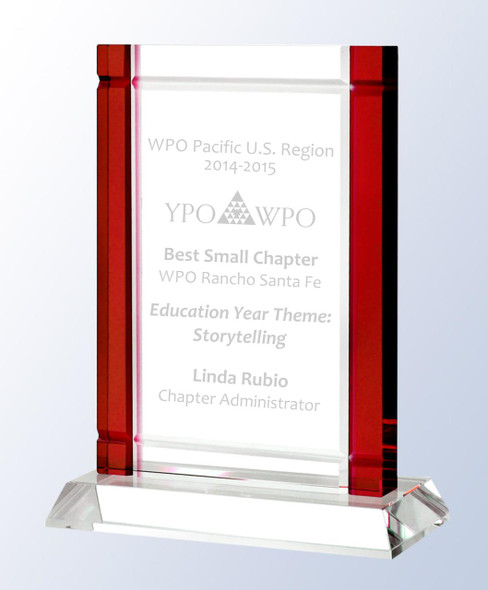 Deco Crystal Award in Red, Blue, Black, Green or Clear