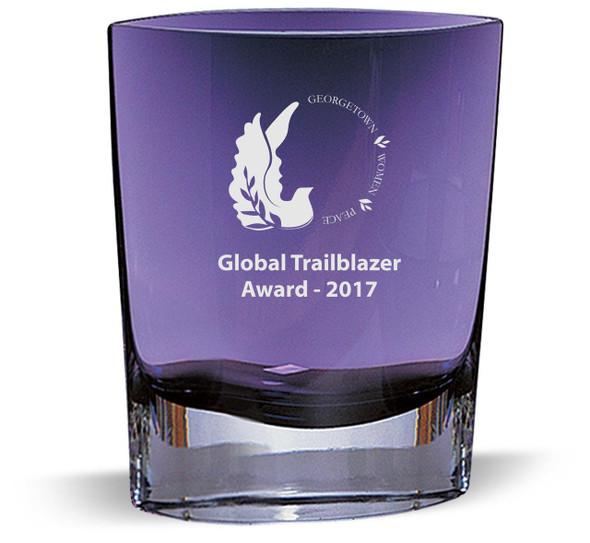 Violet Art Glass Vase Personalized