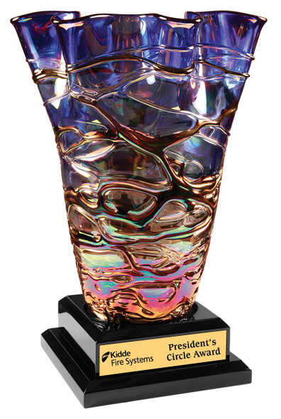 Fury Art Glass Vase Award with base
