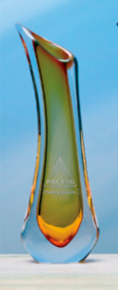 Athena Vase Glass Art Award, Amber, Blue or Violet