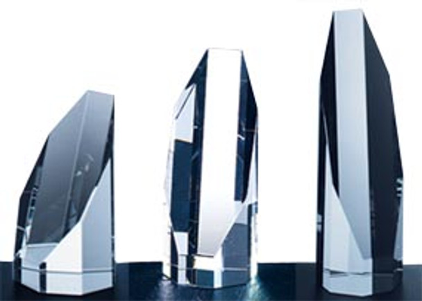 """OCTAGON TOWER CRYSTAL AWARDS, 4"""", 3 sizes available"""