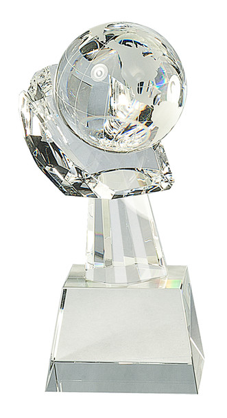 "8"" Crystal Globe in Hand Award"