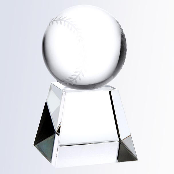 Championship Crystal Baseball Trophy