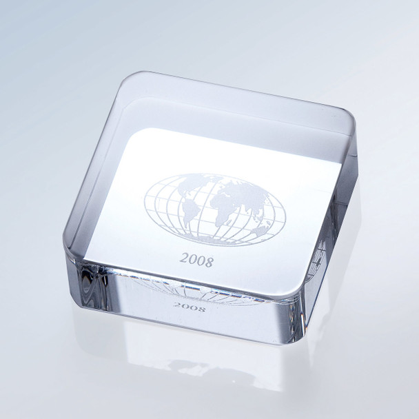 CRYSTAL PAPERWEIGHT, SQUARE