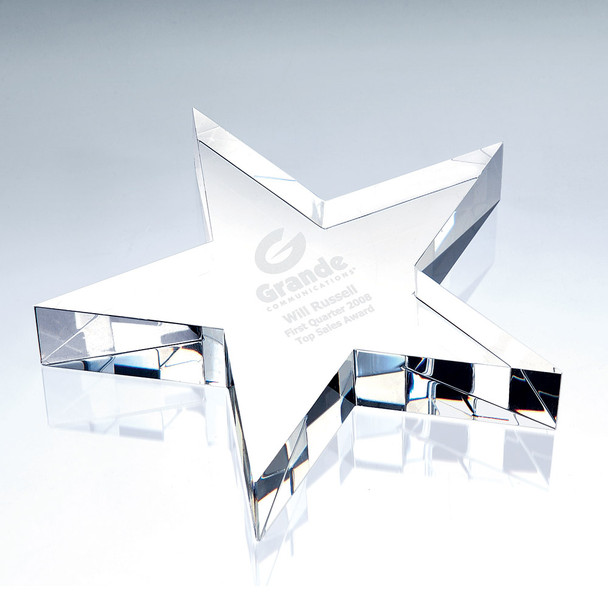 FLAT STAR Crystal Paperweight,  3 sizes available