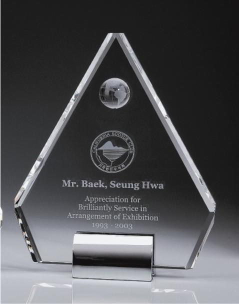 Pentagon Peak Plaque Crystal Award w/Globe