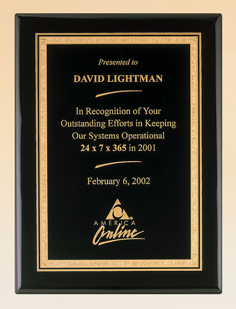 Black Piano-Finish Recognition Award Plaque with Brass Plate