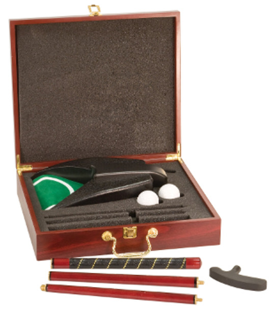 Executive Golf Set, Rosewood box, engraved gold plate, Father's Day Gift