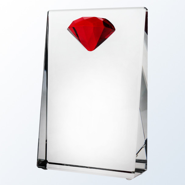 Red Diamond Wedge Crystal Award, 3 sizes available