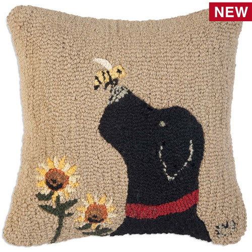 "Chandler 4 Corners, Lab With Bee 18"" Hooked Wool Throw Pillow, a lovable Black Lab, a curious bee and two sunflowers decorate this pillow by designer Laura Megroz"
