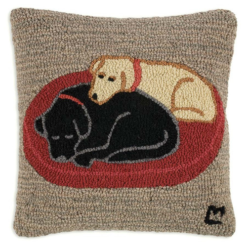 Chandler 4 Corners, Jack and Jill 18 inch Hooked Wool Throw Pillow, a black and yellow lab recline together on a red rug