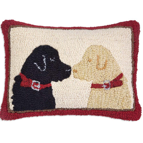 Chandler 4 Corners, Pet Lovers 2 Labs Hooked Wool Throw Pillow, Black Lab and Yellow Lab stare soulfully at each other, BFF or more