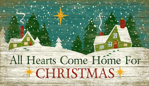All Hearts Come Home for Christmas, Suzanne Nicoll's Holiday image of a snowy houses and the Star of Bethlehem
