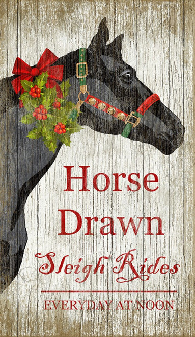 Christmas Horse, Suzanne Nicoll, Holiday, image of a black horse head, Sleigh rides, Red Horse Signs