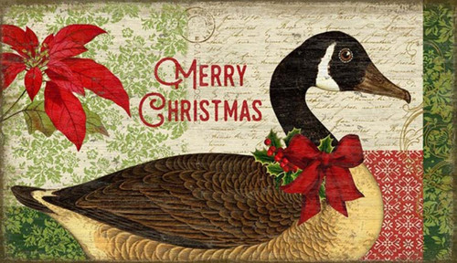 Christmas Goose, Suzanne Nicoll's wonderful Holiday vintage image of a Canada Goose, red bow and red poinsettia, distressed wood panel