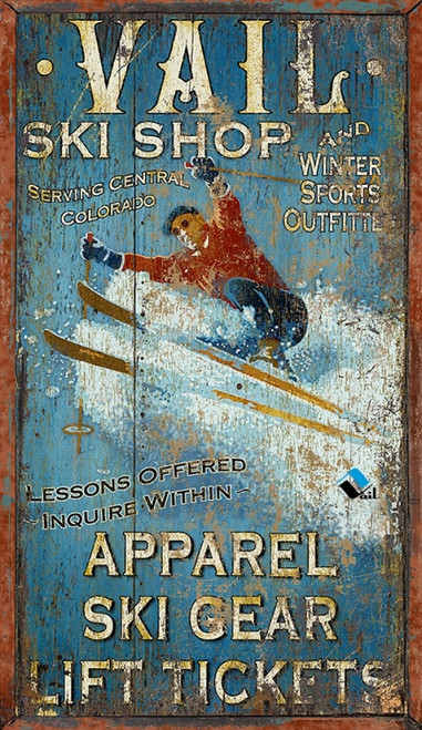 Red Horse Signs, Vail Ski Shop, image of skier in powdery snow, distressed wood panel with knots and other imperfections