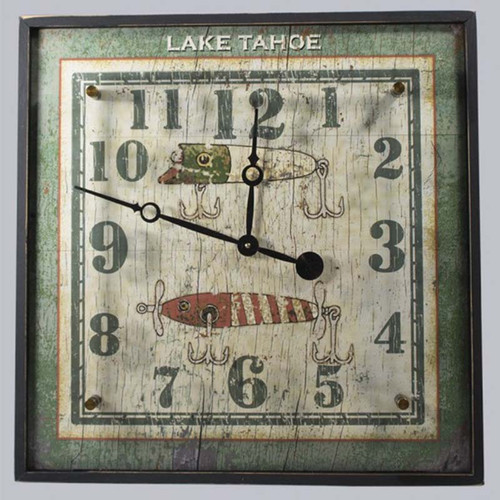 Lures Wood and acrylic, clock, red horse signs, vintage lures displayed behind glass, unique 2 dimensional clock