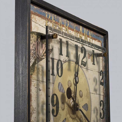 Trout Wood and Acrylic Clock, Red Horse Signs, image of trout and reel, Bear Lake, detail top