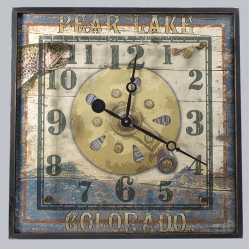 Trout Wood and Acrylic Clock, Red Horse Signs, image of trout and reel, Bear Lake