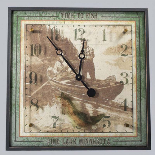 Patents Wood and Acrylic Clock, Red Horse Signs, Vintage scene of fisherman, boat, and rainbow trout