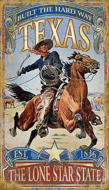 Texas Hardway, Red Horse Signs, vintage art, cowboy wrangler gallops off to rope a wild horse