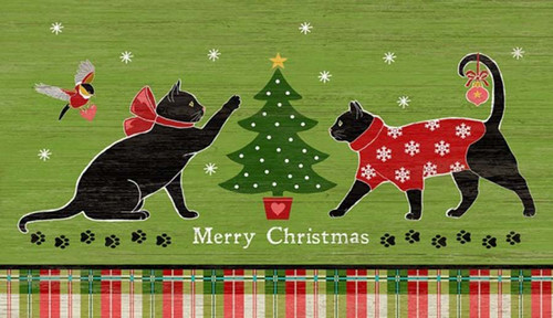 Red Horse Signs, Christmas Cats, two black cats are dressed for the holidays, heading for a Christmas tree. Suzanne Nicoll's wonderful custom Holiday Cat vintage image, on a distressed wood panel.