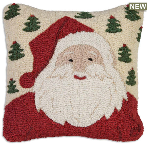 "Chandler 4 Corners, Jolly Ole Santa 18"" Hooked Wool Pillow, A white-bearded, a jolly old St. Nicholas with red smile before a snowy field of green Christmas trees, a pillow that will laugh, ho, ho, ho"