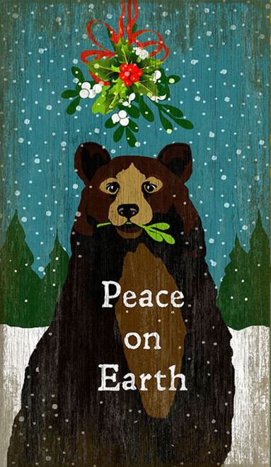Red Horse Signs, Mistletoe Bear, vintage art on distressed wood, a large brown bear holds mistletoe in its mouth on background of falling snow