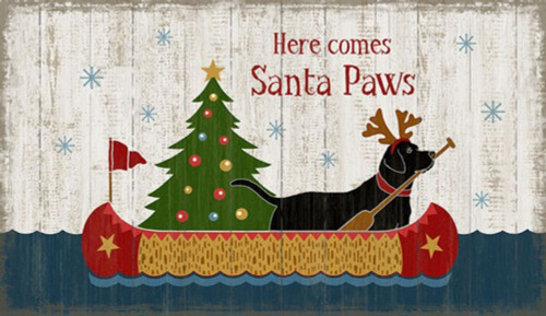 Red Horse Signs, Santa Paws, Suzanne Nicoll, Holiday Christmas Dog image in a canoe, vintage image, distressed wood panel