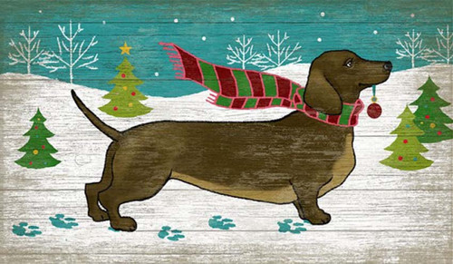 Christmas Doxie, Red Horse Signs, vintage wooden art, dachshund with holiday scarf on a snowy background