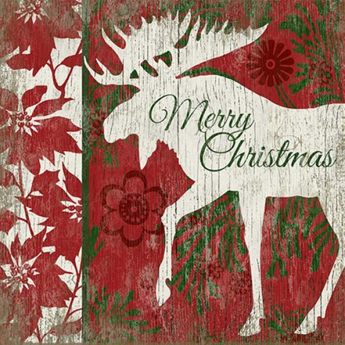 Christmas Moose, Red Horse Signs, a white moose on a red and green background, poinsettias, and a hearty Merry Christmas greeting