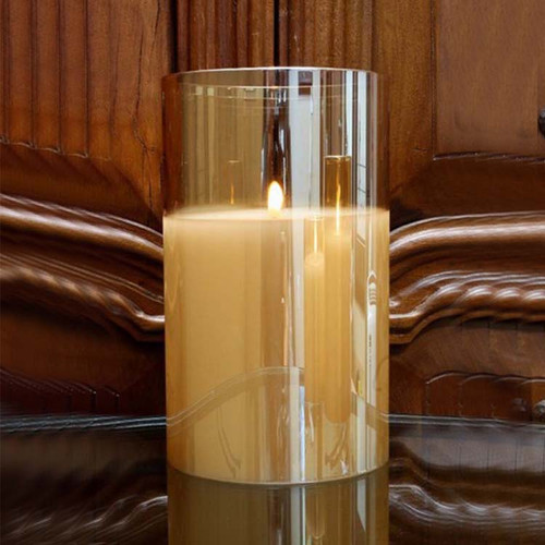 Radiance Candle 6×9.8 Champagne, The Light Garden, realistic, glowing, LED flicker flame, remote ready