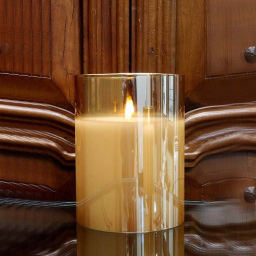 Radiance Candle 6×7.8 Champagne, wax, flicker flame, LED lights, Light Garden