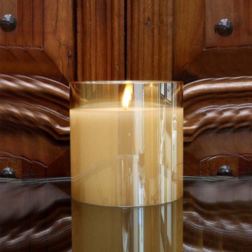 Radiance Candle Champagne, Small, 6x6, Light Garden, flicker LED, flameless candle