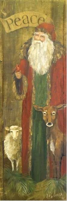 Santa Animals, Red Horse Signs, Terri Palmer's rustic Santa with animal friends, vintage image printed directly to a distressed hardwood