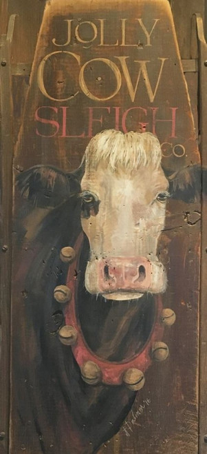 Jolly Cow, Red Horse Signs, Terri Palmer's jolly cows with red collar and bells, proudly stares directly at you, vintage image is printed directly to a distressed wood panel