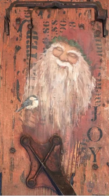 Santa Joy  Santa folk art with sparrow, rustic look with simulated metal fastener, vintage image is printed directly to a distressed wood panel
