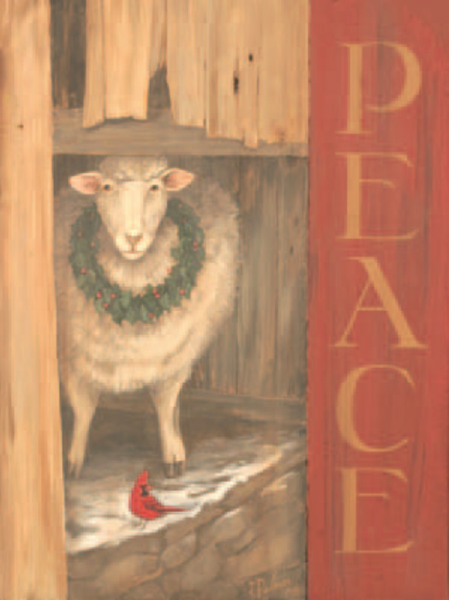 Sheep Peace, Red Horse Signs, American folk art, a lamb with a wreath and red  cardinal keep peace together in the barn, vintage image printed directly to a distressed wood panel
