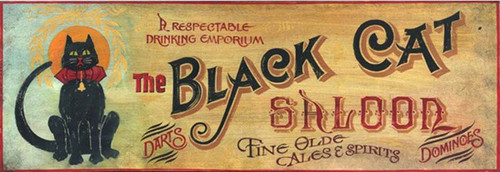 Black Cat Saloon, Red Horse Signs, vintage wall art on wood