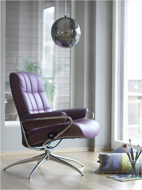 Stressless London low back recliner chair purple room view