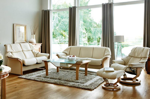 Stressless Eldorado sofa high back and low back in room setting